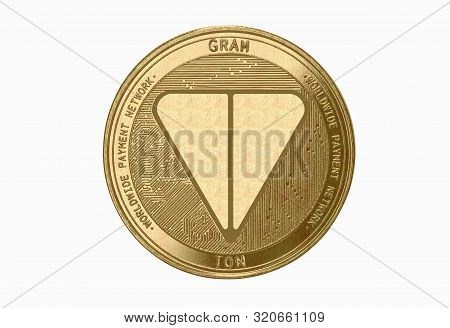 Gold Coin Cryptocurrency Gram, Ton, Round On A White Background