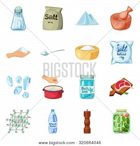 Vector Design Of Salt And Food Sign. Set Of Salt And Mineral Vector Icon For Stock.