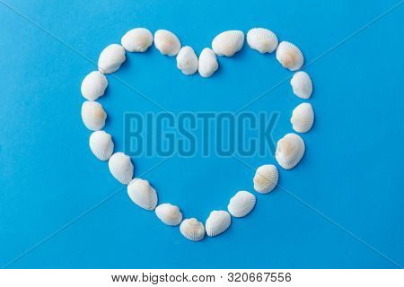 sealife, valentine's day, and summer concept - frame of white sea shells in shape of heart on blue background