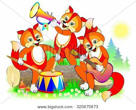 Illustration Of Three Cute Little Foxes Playing Musical Instruments In The Orchestra. Cover For Baby