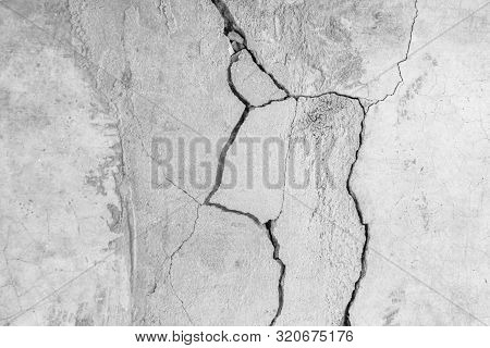 Grunge Concrete Wall At Covered With Gray Cement Old Surface With Crack In Industrial Building, Grea