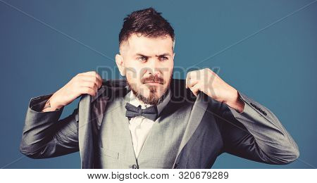 poster of trendy watchmaker. business in modern life. esthete. stylish art director. bearded man in formal suit. mature illusionist. Bride groom ready for wedding. businessman with beard in tie. perfect style