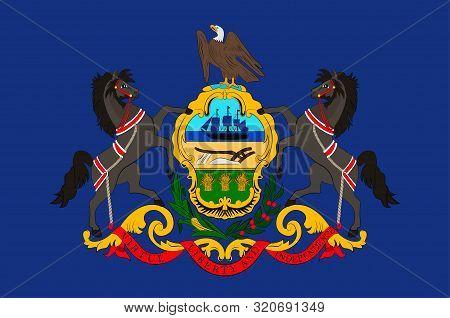 Flag Of Pennsylvania In Usa. Vector Illustration