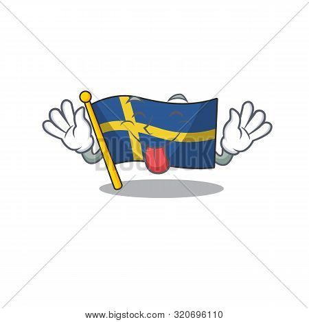 Tongue Out Swede Flags Flutter On Character Pole