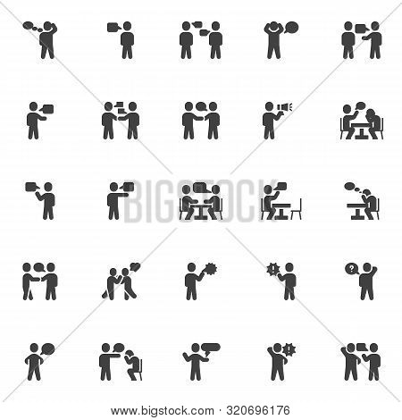 Conversation Vector Icons Set, Modern Solid Symbol Collection, Filled Style Pictogram Pack. Signs, L