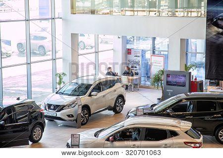 Nizhny Novgorod, Russia - March 14, 2018: Cars In Showroom Of Dealership Nissan In Nizhny Novgorodci