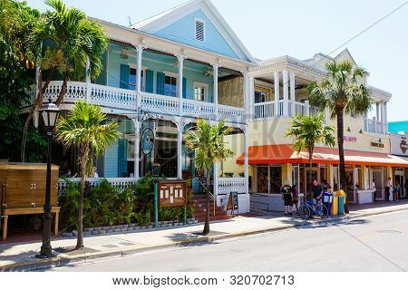 Key West, Florida Usa - April 13, 2016: The Historic And Popular Center And Duval Street In Downtown