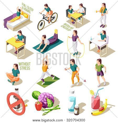 Healthy Life Style Isometric Icons Good Sleep And Nutrition Regular Check Up Sports Activity Isolate