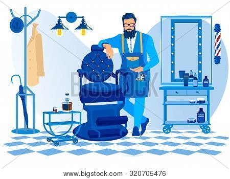 Bearded Barber Wearing Apron With Haircut Tools Waiting Client In Barbershop Stand Near Chair, Gentl