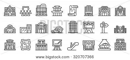 Exhibition Center Icons Set. Outline Set Of Exhibition Center Vector Icons For Web Design Isolated O