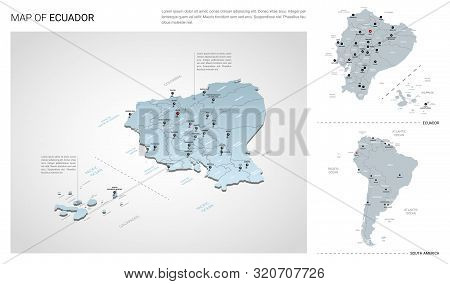 Vector Set Of Ecuador Country.  Isometric 3d Map, Ecuador Map, South America Map - With Region, Stat