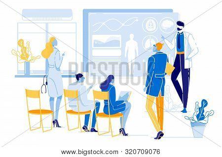 Poster Medical Council Doctors, Cartoon Flat. Successful Doctors Discuss Patients Health And Decide