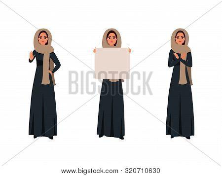 Arab Women Making Boycott Gestures. Saudi Girl In Black Abaya Holding A Blank Signboard. Flat Cartoo