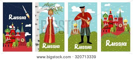 Poster Inscription Russia Collection Cartoon Flat. Historical And Sights Russia, Red Square. Man And