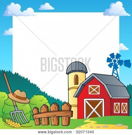 Farm theme frame 1 - vector illustration.