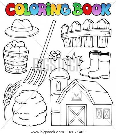 Coloring book farm theme 2 - vector illustration.