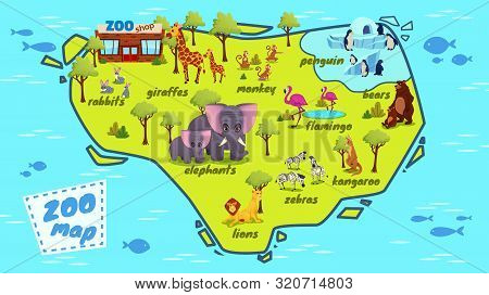 Modern Zoo Map Cartoon Vector Poster, Banner Template With African, Jungle And Northern Animals Cute