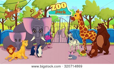 Modern Zoo Park Animals Species Cartoon Vector Concept With African Savanna, Amazonian Jungles And N