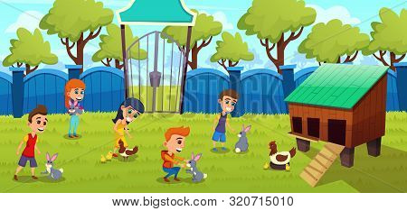 Petting Zoo, Farm With Cute Domesticated Animals Cartoon Vector Concept. Little Kids, Preschooler Bo