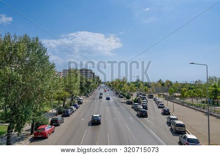 Thessaloniki, Greece - August 31 2019: City Road Traffic On A Multi Lanes Avenue. Elevated Day Sunny