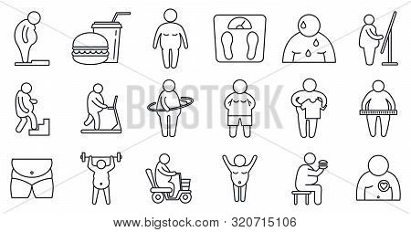 Overweight People Icons Set. Outline Set Of Overweight People Vector Icons For Web Design Isolated O