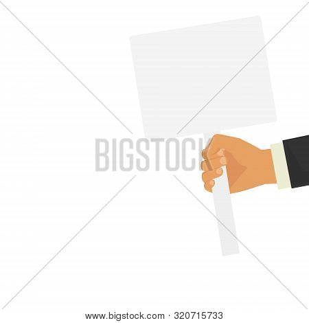 Hand Holding Blank Banner Mock Up On Wood Stick Isolated. Empty Board Plank Holder In Hands. Holding