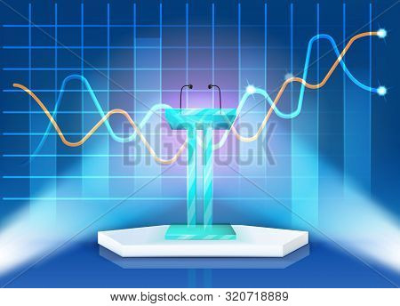Poster Grand Modern Reading Stand Realistic 3d. Technical Equipment On Stage. Professional Microphon