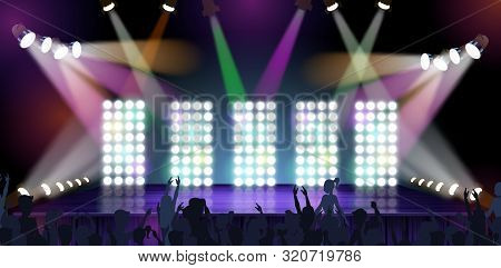 Banner Big Concert Stage Vector Illustration. Stage Equipment Various Presentations. Stage Construct