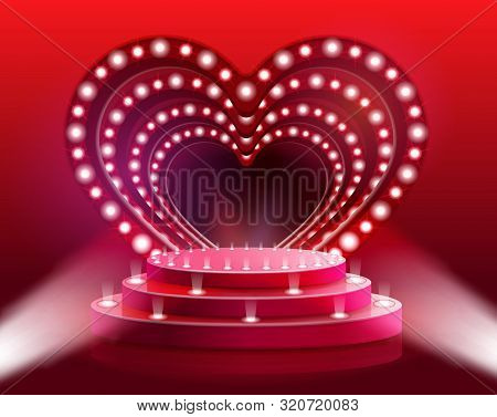 Flyer Glowing Heart Scene Vector Illustration. Rental Stage And Stage Equipment For Parties And Wedd