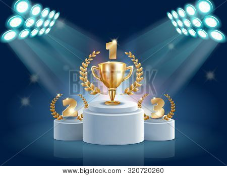 Splendid Flyer Honorary Prize Pedestal Realistic. Stage Equipment For Activities. Light And Sound Eq