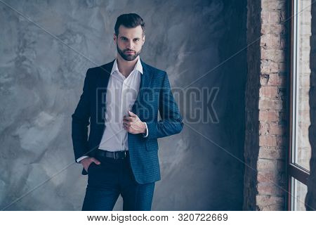 Portrait Of Minded Entrepreneur Looking Touching His Modern Jacket Blazer Wearing Pants Trousers Shi