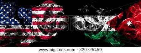 United States Of America, Usa Vs Jordan, Jordanian Background Abstract Concept Peace Smokes Flags.
