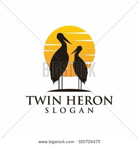 Heron Sunset Logo - Vector Illustration On A Dark Background