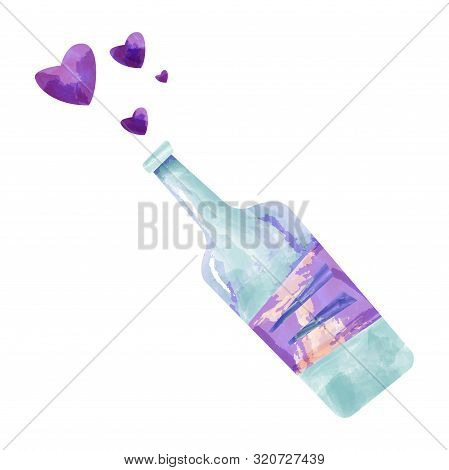 Illustration Of Bottle Wine . Suitable For Wine List Covers, Decorations, Invitations And Presentati