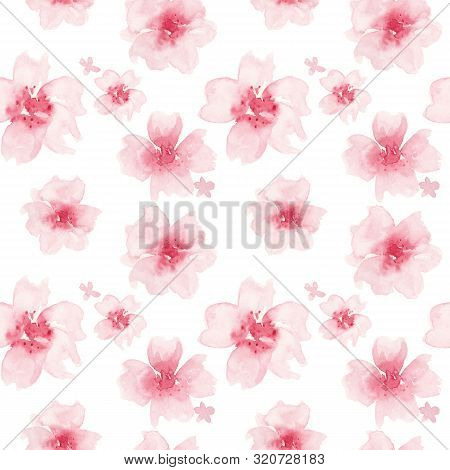Watercolor Floral Pattern. Seamless Pattern With Pink Flowers On White Background. Meadow, Abstract