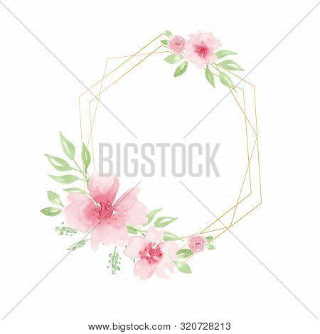 Wedding Invitation Card Template, Geometric Design. Romantic Watercolor Roses And Sakura Flowers Wit