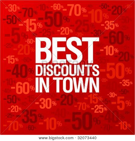 Best discounts in town background with percent discount pattern.