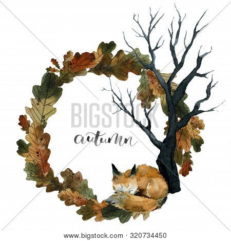 Cute Red Fox Sleeps On Leaves Under A Tree, Autumn Lettering, Wreath Of Leaves , Watercolor Illustra