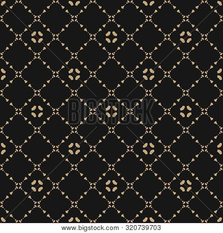 Golden Vector Ornament Pattern In Asian Style. Black And Gold Elegant Floral Seamless Texture With D