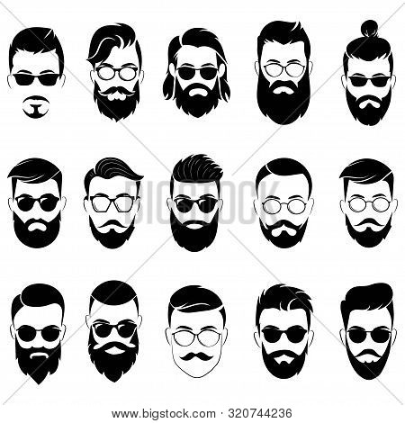 Set Of Hairstyles For Men In Glasses. Collection Of Black Silhouettes Of Hairstyles And Beards. Vect