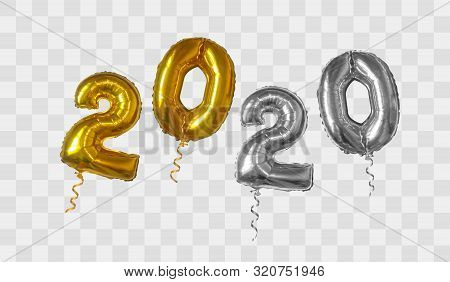 2020 Number Of Gold And Silver Foiled Balloons Isolated On Transparent Background. Happy New Year 20