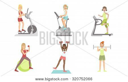 Young Women Doing Fitness Exercises In Gym Set, Girls Training With Treadmill, Exercise Bike, Dumbbe