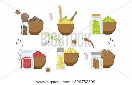 Spices In Wooden Bowl Set, Sesame, Anise Seeds, Peppercorns, Paprika Powder, Svanuri Marili Vector I