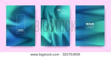 Mint Flow Poster. Vector Covers Set. Business Distorted Lines. 3d Geometric Background. Flow Vibrant