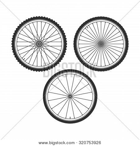 Bicycle Wheel Icons Set. Bike Rubber. Mountain Tyre. Set With 3 Different Wheels. Vector Illustratio