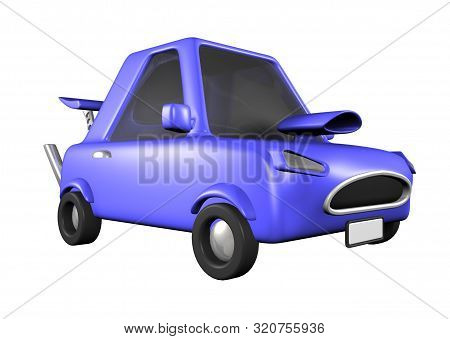 3d Toon Blue Fast Racing Car Road Transport Spoiler