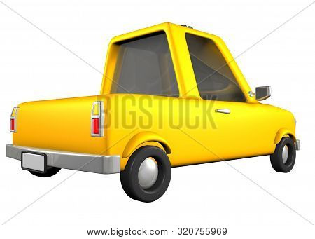 3d Toon Yellow Sedan Car Road Transport
