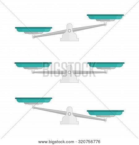 Set Of Scales. Weighing Scale With Green Pans And Gray Base. Bowls Of Scales In Balance, An Imbalanc