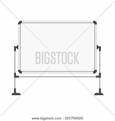 Empty White Marker Board Isolated On White Background. Blank Whiteboard In Realistic Style. Office W
