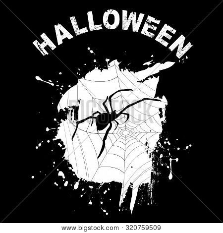 Black Halloween Background With Grunge Web And Spooky Spider Silhouette